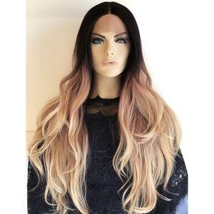 "26"" Ombre Ash Blonde Long Wig W/ Dark Roots  Chloe"